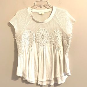 Anthropologie Meadow Rue White Crocheted Top